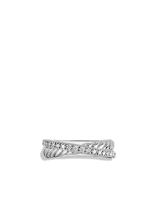 David Yurman   Metallic Crossover Ring With Diamonds   Lyst