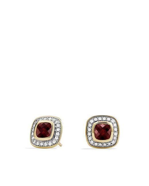 David Yurman | Yellow Petite Albion Earrings With Garnet And Diamonds In 18k Gold | Lyst