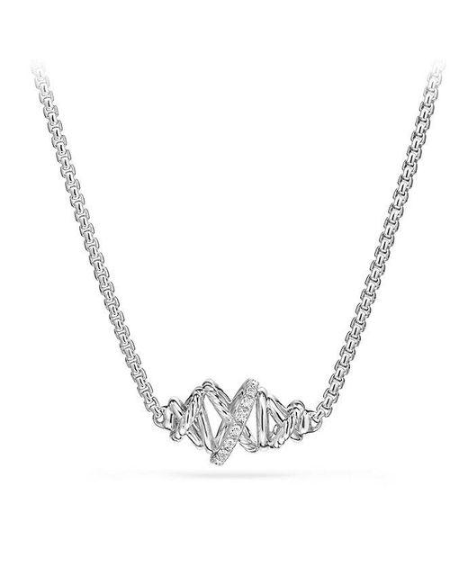 David Yurman - Metallic Crossover Single Station Necklace With Diamonds - Lyst
