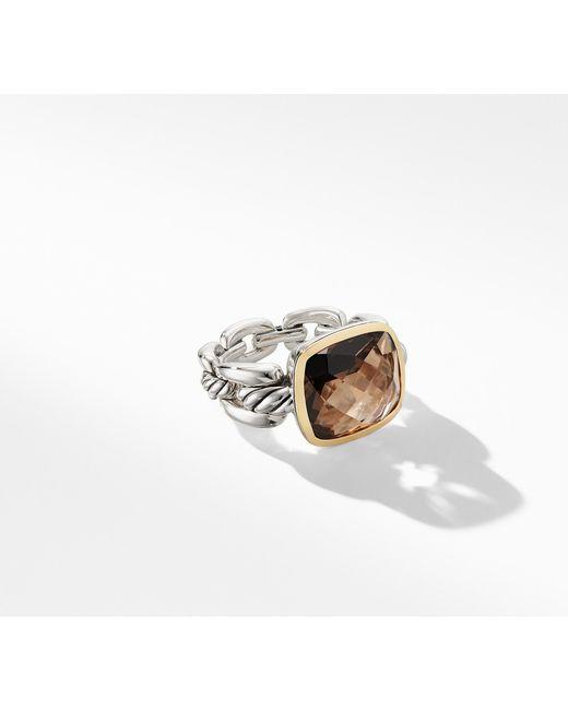 David Yurman - Metallic Wellesley Linktm Statement Ring With 18k Gold And Smoky Quartz - Lyst
