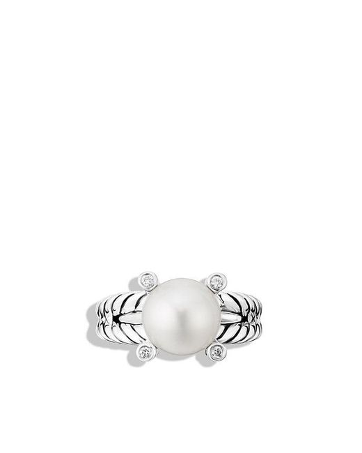 David Yurman - White Pearl Cable Cup Ring Pe Di Sil - Lyst