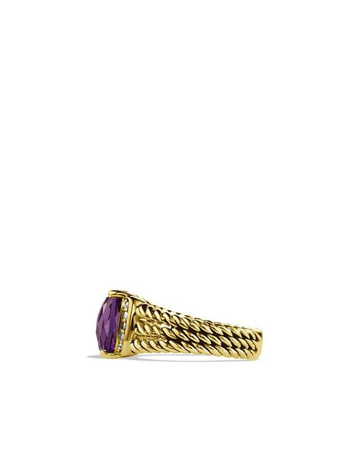 David Yurman | Yellow Petite Wheaton Ring With Amethyst And Diamonds In 18k Gold | Lyst