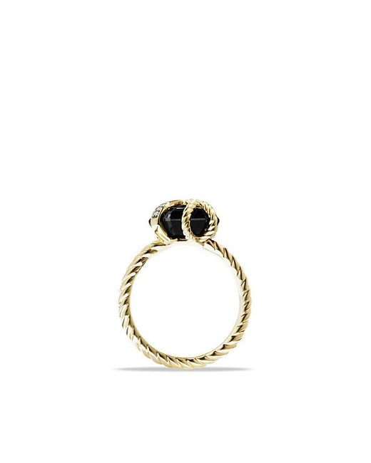 David Yurman - Cable Wrap Ring With Diamonds And Black Onyx In 18k Gold, 10mm - Lyst