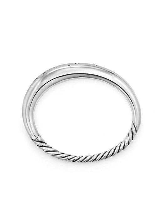 David Yurman - Metallic Pure Form® Smooth Bracelet With Diamonds, 9.5mm - Lyst