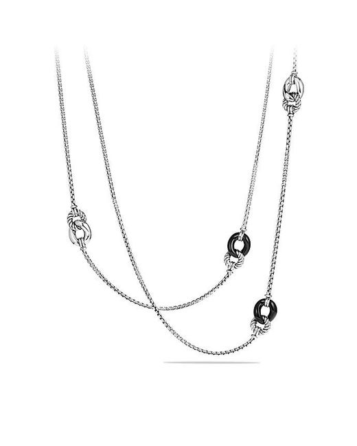 David Yurman | Belmont Curb Link Four Station Chain Necklace With Black Onyx | Lyst