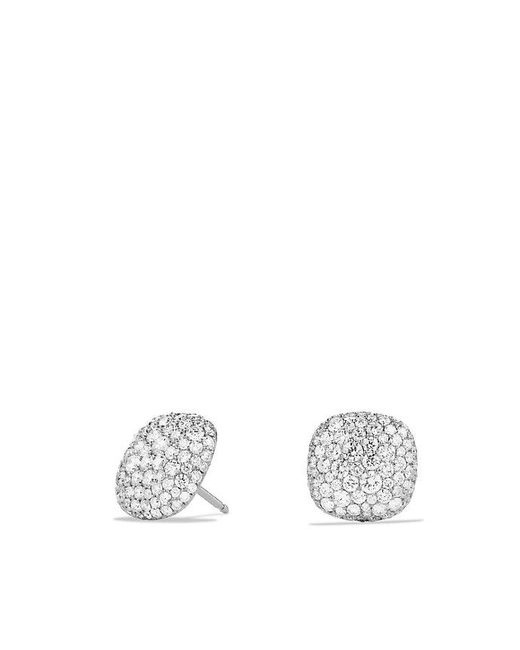 David Yurman | Metallic Pavé Earrings With Diamonds In 18k White Gold | Lyst