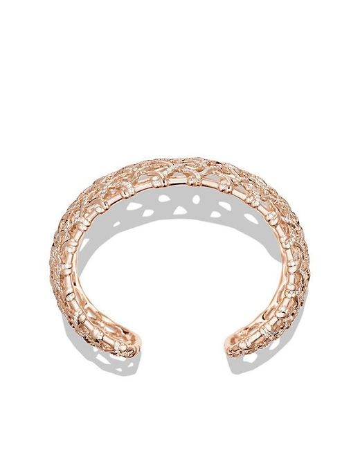 David Yurman | Metallic Venetian Quatrefoil Wide Cuff Bracelet With Diamonds In 18k Rose Gold, 41mm | Lyst