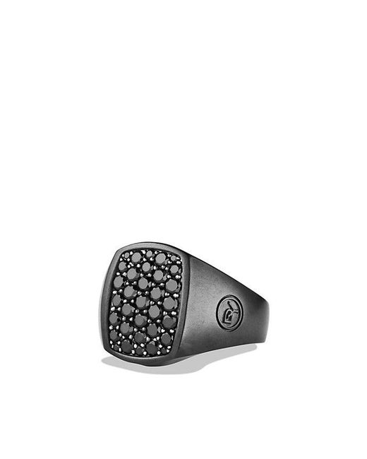 David Yurman | Pavé Pinky Ring With Black Diamonds And Black Titanium for Men | Lyst