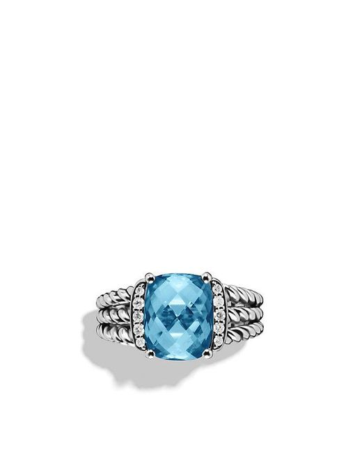 David Yurman - Petite Wheaton® Ring With Hampton Blue Topaz And Diamonds - Lyst