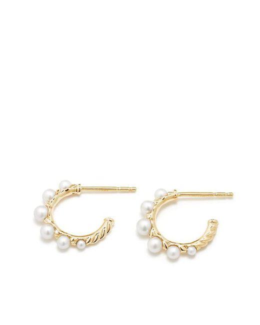 David Yurman - Metallic Petite Perle Graduated Hoop Earrings With Pearls In 18k Gold - Lyst