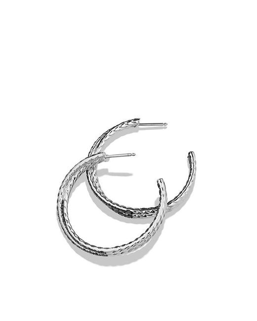 David Yurman - Crossover Hoop Earrings With Black Diamonds In 18k White Gold - Lyst