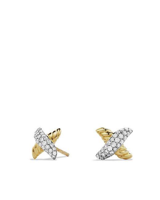 David Yurman - Metallic X Earrings With Diamonds In 18k Gold - Lyst