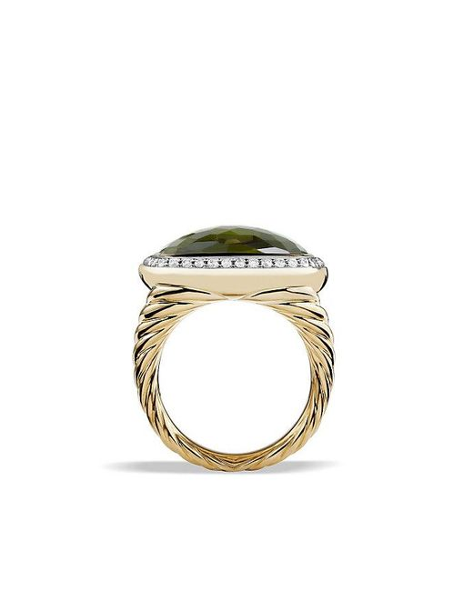 David Yurman - Albion® Ring With Green Orchid And Diamonds In 18k Gold - Lyst