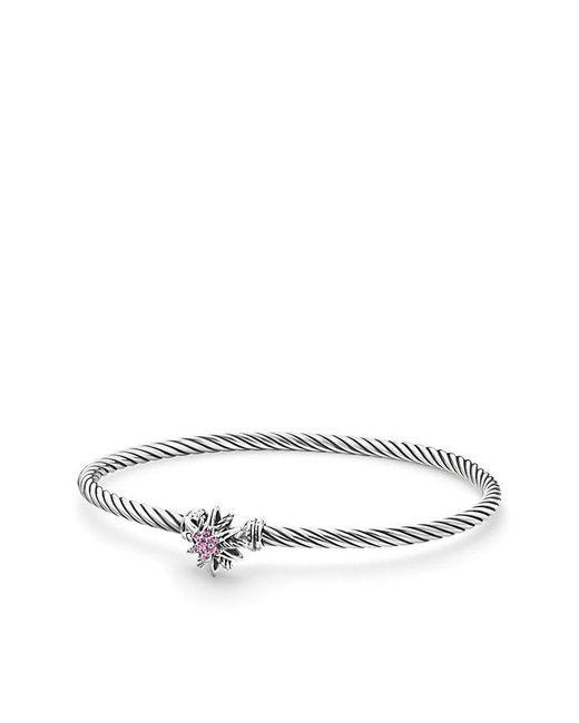 David Yurman - Starburst Single-station Cable Bracelet With Pink Sapphires, 3mm - Lyst