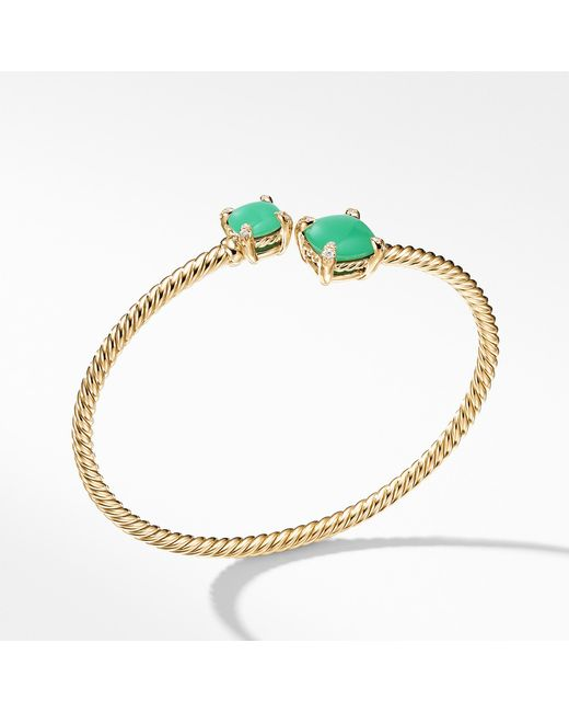 David Yurman - Multicolor Chatelaine® Bypass Bracelet With Chrysoprase And Diamonds In 18k Gold - Lyst
