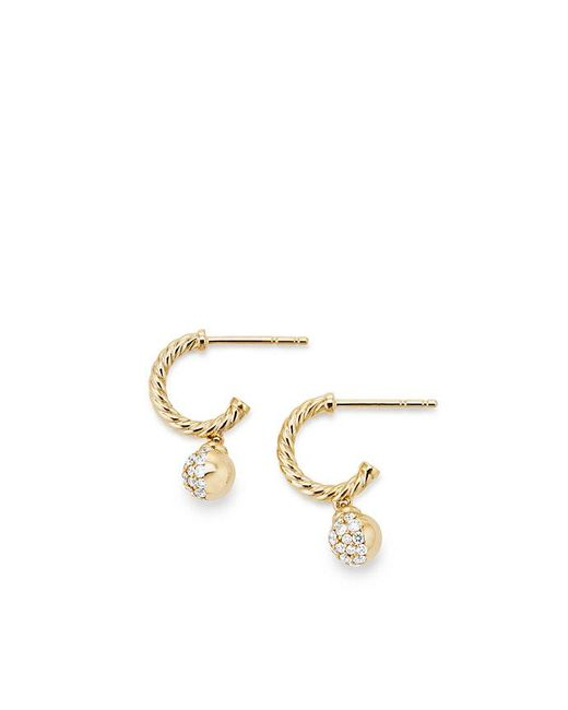 David Yurman - Metallic Petite Solari Hoop Pave Earrings With Diamonds In 18k Gold - Lyst