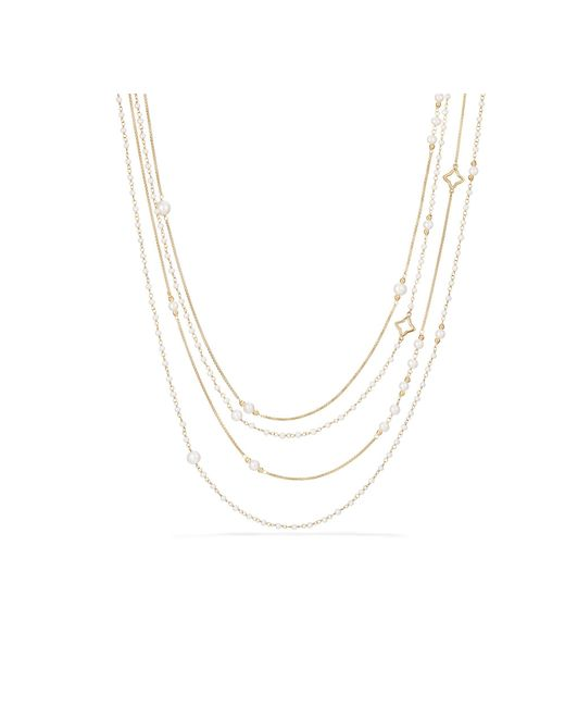 David Yurman - Metallic Oceanica Two-row Chain Necklace With Pearls In 18k Gold - Lyst