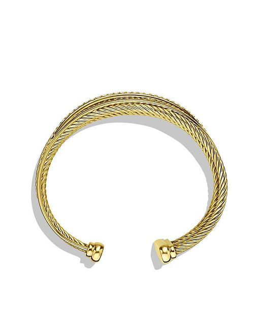 David Yurman - Yellow Crossover Four-row Cuff Bracelet With Diamonds In 18k Gold, 23mm - Lyst