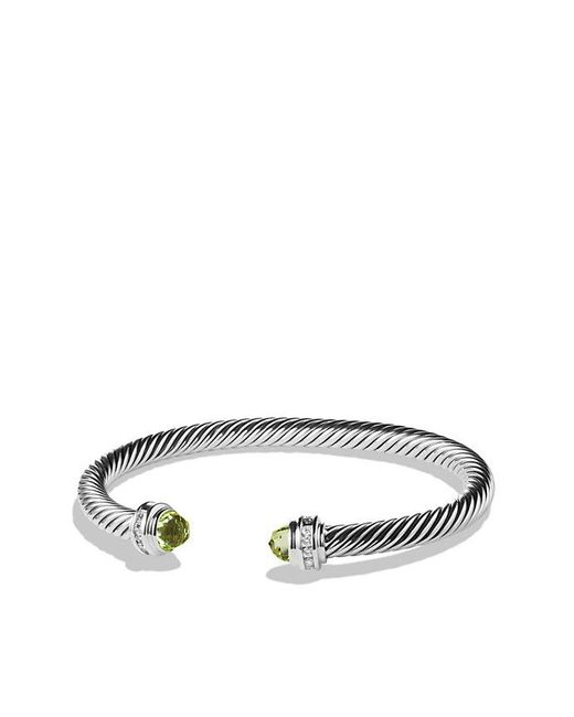 David Yurman | Metallic Cable Classics® Bracelet With Peridot And Diamonds, 5mm | Lyst