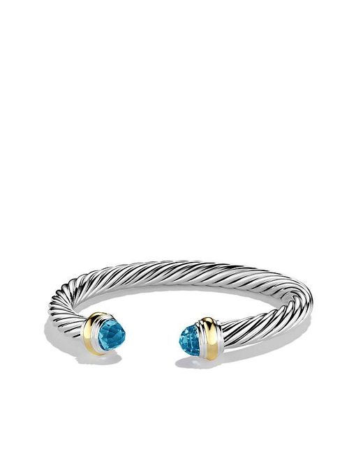 David Yurman | Cable Classics Bracelet With Blue Topaz And 14k Gold, 7mm | Lyst