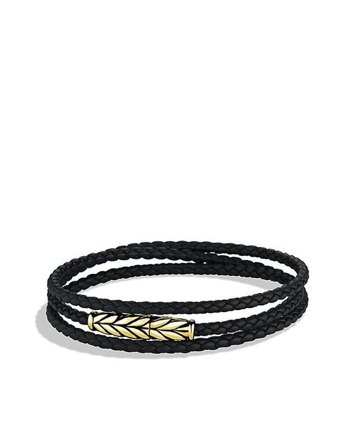 David Yurman | Chevron Triple-wrap Bracelet In Black Leather And 18k Gold for Men | Lyst