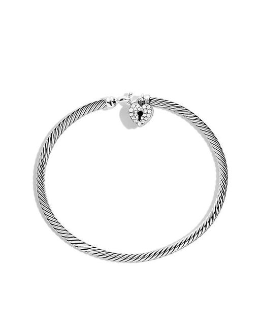 David Yurman | Metallic Cable Collectibles Heart Lock Bracelet With Diamonds, 3mm | Lyst