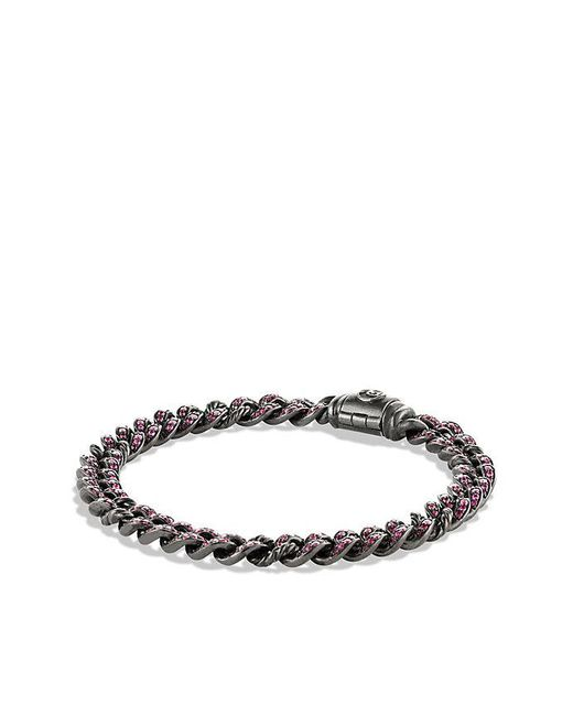 David Yurman   Petite Pavé Curb Link Bracelet With Pink Sapphires   Lyst