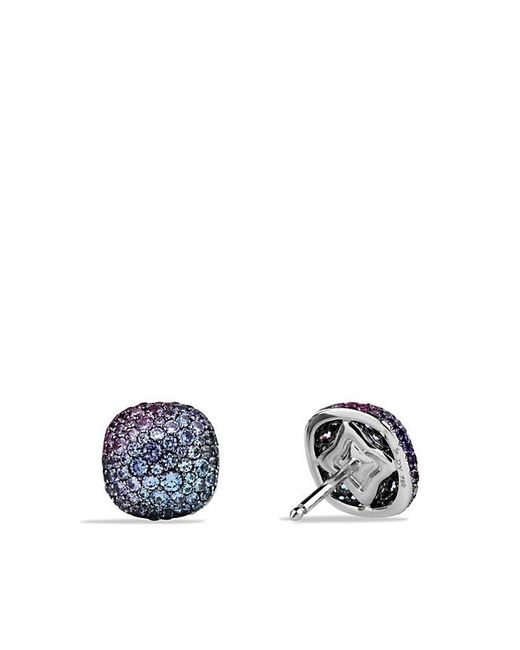 David Yurman | Pavé Earrings With Color Change Garnets In 18k White Gold | Lyst