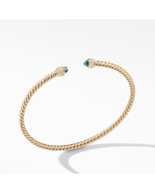 David Yurman - Metallic Cable Spira® Bracelet In 18k Gold With Hampton Blue Topaz And Diamonds, 3mm - Lyst