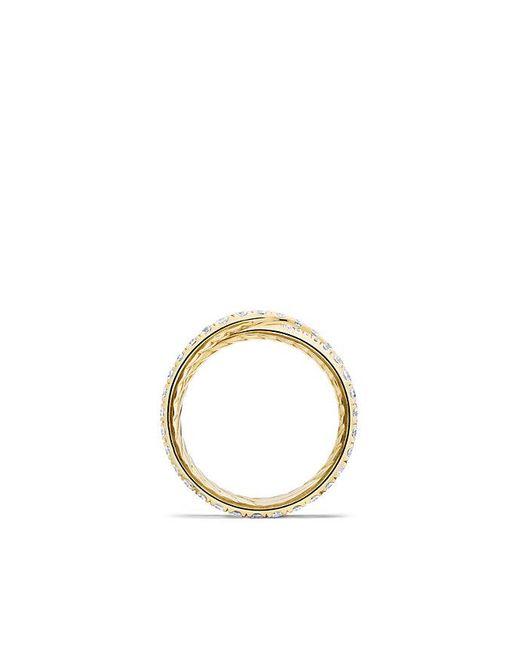 David Yurman | Metallic Dy Crossover Wedding Band With Diamonds In 18k Gold, 5.2mm | Lyst