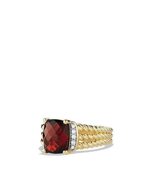 David Yurman - Yellow Petite Wheaton Ring With Garnet And Diamonds In 18k Gold - Lyst