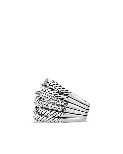 David Yurman - Metallic Labyrinth Triple-loop Ring With Diamonds - Lyst