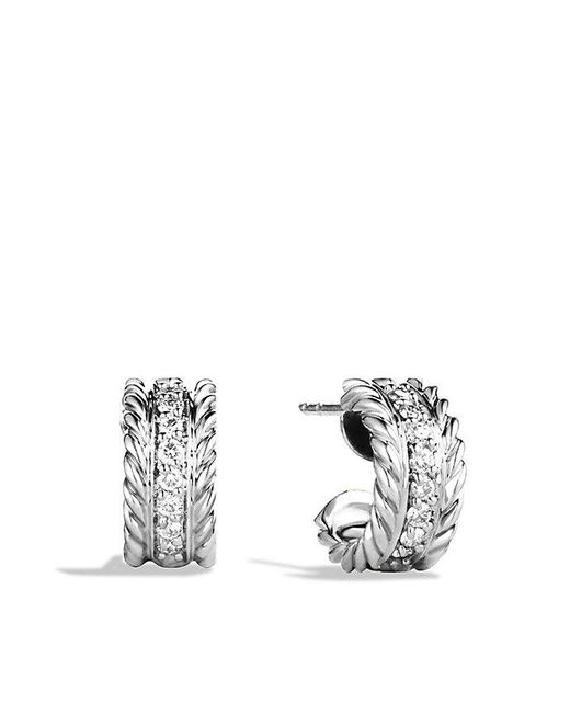 David Yurman | Metallic Cable Classics Earrings With Diamonds | Lyst