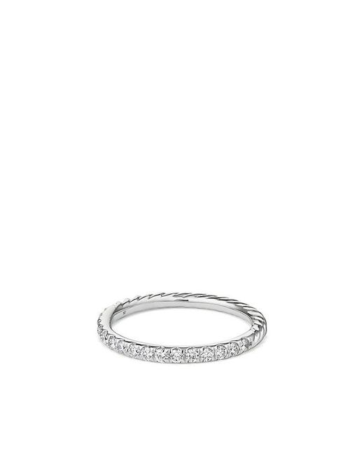 David Yurman - Metallic Cable Pavé Band Ring With Diamonds In 18k Gold - Lyst