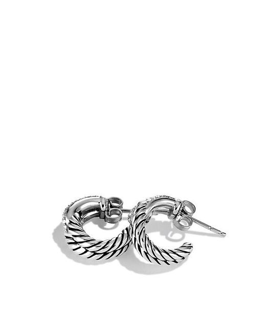 David Yurman | Metallic Labyrinth® Single-loop Earrings With Diamonds | Lyst