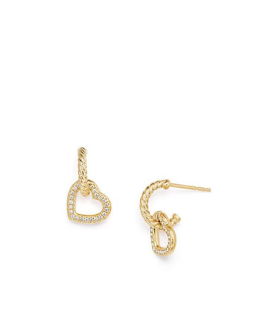 David Yurman - Metallic Heart Drop Earrings With Diamonds In 18k Gold - Lyst