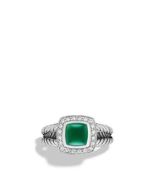 David Yurman - Metallic Petite Albion® Ring With Green Onyx And Diamonds - Lyst