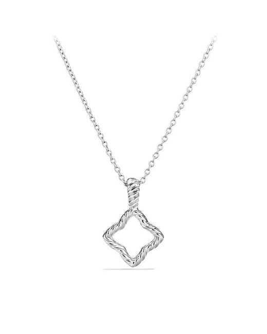 David Yurman | Cable Collectibles Quatrefoil Pendant Necklace With Diamonds In 18k White Gold | Lyst