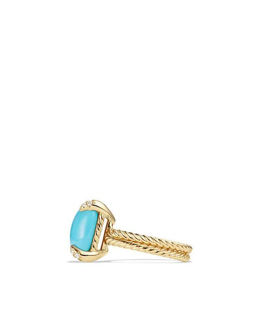 David Yurman - Green Châtelaine Ring With Turquoise And Diamonds In 18k Gold - Lyst