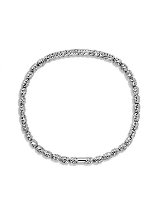 David Yurman - Pave Flex Bracelet In 18k White Gold With Diamonds - Lyst