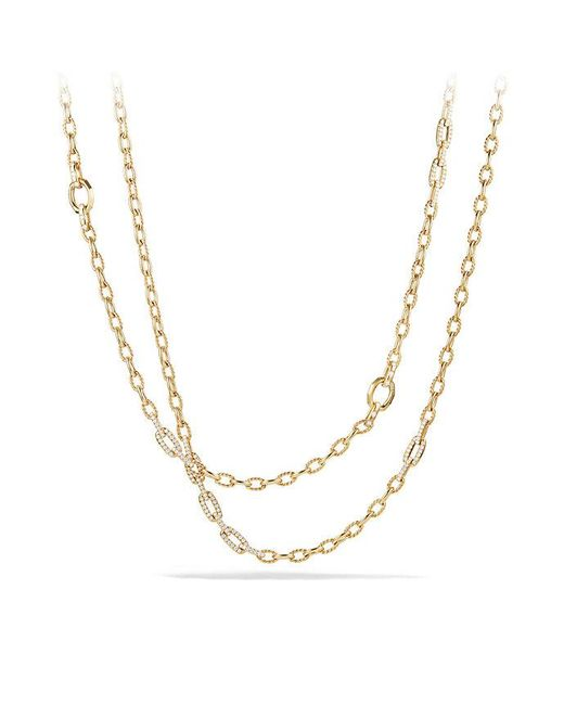 David Yurman | Metallic Stax Convertible Chain Necklace With Diamonds In 18k Gold | Lyst
