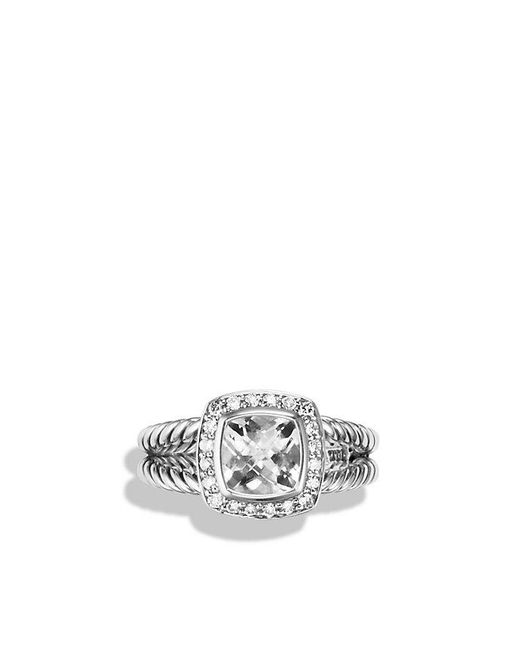 David Yurman - Metallic Petite Albion® Ring With White Topaz And Diamonds - Lyst