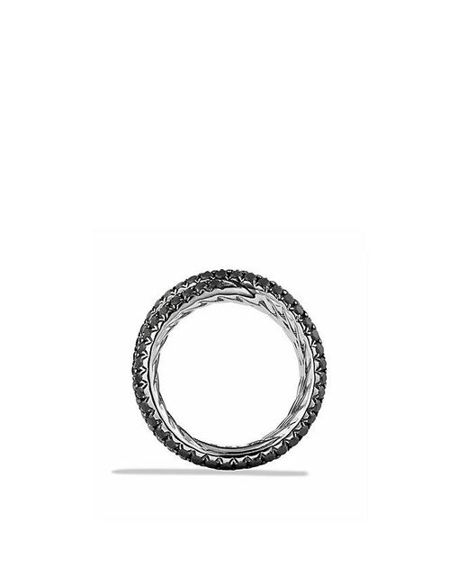 David Yurman | Crossover Ring With Black Diamonds In 18k White Gold | Lyst