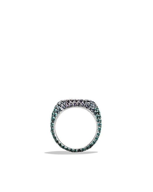 David Yurman | Metallic Pavé Pinky Ring With Color Change Garnets In 18k White Gold | Lyst
