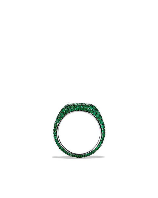 David Yurman | Green Petite Pavé Pinky Ring With Emeralds In 18k White Gold | Lyst