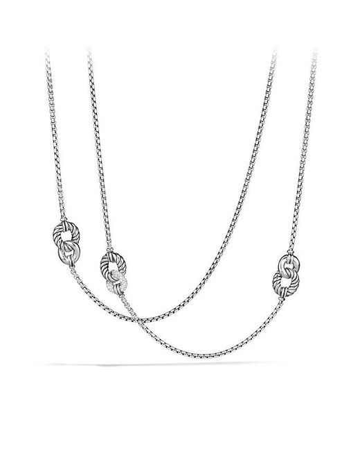 David Yurman - Metallic Belmont Curb Link Four Station Chain Necklace With Diamonds - Lyst