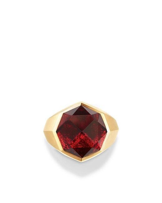 David Yurman | Multicolor Dy Fortune Faceted Signet Ring With Garnet In 18k Gold | Lyst