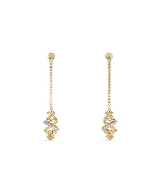 David Yurman - Metallic Crossover Chain Drop Earrings With Diamonds In 18k Gold , 54mm - Lyst