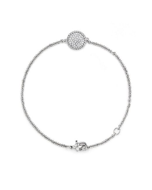 David Yurman - Cable Collectibles Pavé Plate Charm Bracelet With Diamonds In 18k White Gold - Lyst