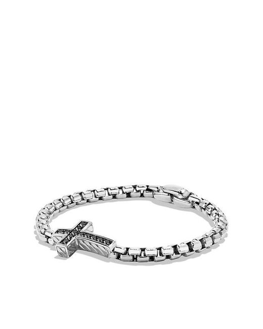 David Yurman - Metallic Pavé Cross Bracelet With Black Diamonds for Men - Lyst